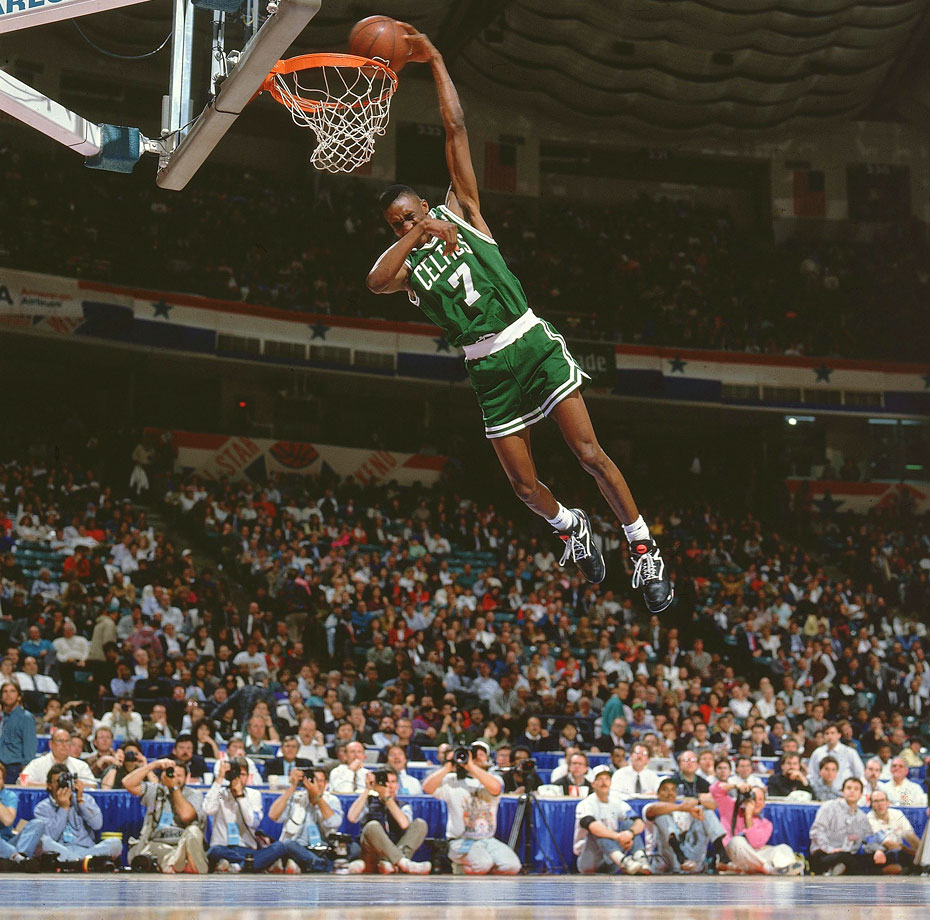 The 6-foot-1 Celtics rookie -- who famously pumped up his sneakers before each attempt -- clinched his victory over the more powerful Shawn Kemp with a one-handed, cover-your-eyes dunk.