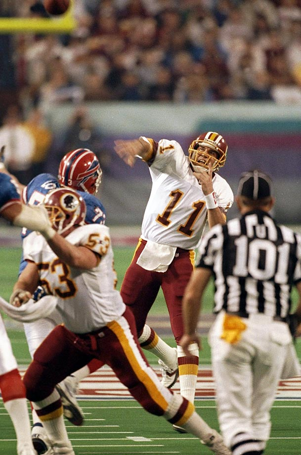 Washington quarterback Mark Rypien earned Super Bowl MVP honors against the Bills by throwing for 292 yards and two touchdowns on 18-of-33 passing.