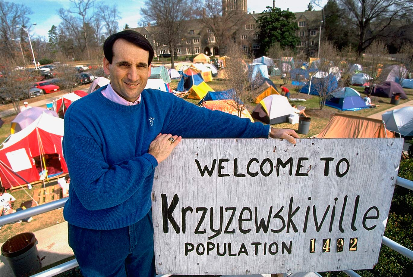 Mike Krzyzewski poses in front of tents in Durham, N.C. He has been the head coach at Duke since 1980.