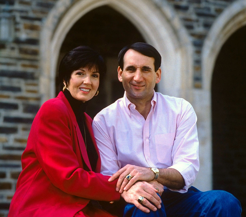 Mike Krzyzewski sits next to his wife, Mickie, in 1992. The day Krzyzewski graduated from West Point the couple was married at the Catholic chapel on campus.