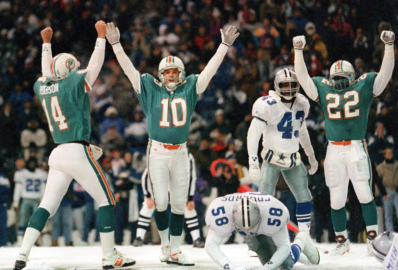 In one of the more infamous Thanksgiving Day games, the Cowboys led the Dolphins 14–13 with just seconds remaining in a rare, snow-filled Texas Stadium. Miami's Pete Stoyanovich attempted a game winning 40-yard field goal that was blocked by the Cowboys' Jimmie Jones.  However, Cowboys defensive lineman Leon Lett chased the ball and touched it, making a live ball. Miami recovered and regained possession. They were able to make another field goal attempt, this time from a much shorter distance, and won the game 16–14.