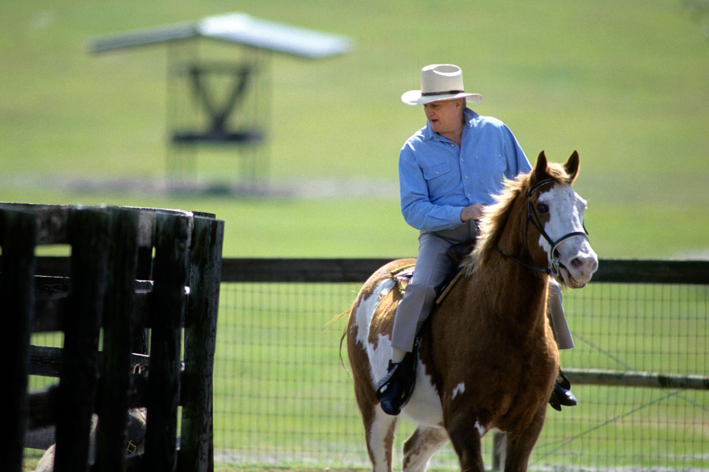 George Steinbrenner rides a horse on Feb. 15, 1993 at his home in Tampa, Fla.