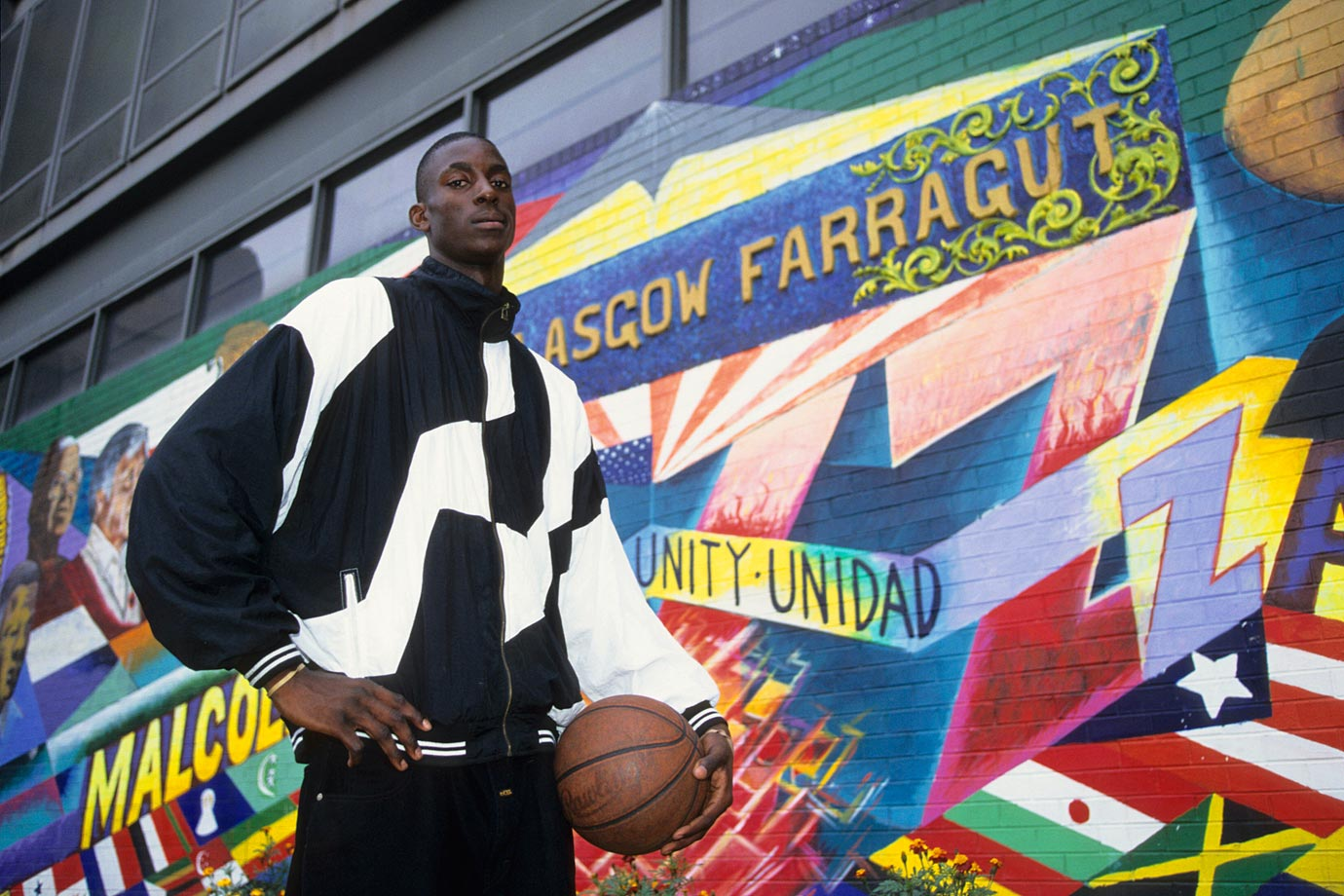 Kevin Garnett poses outside of Farragut Career Academy. KG played for Mauldin High in South Carolina for his first three seasons but transferred to Farragut before his senior year.