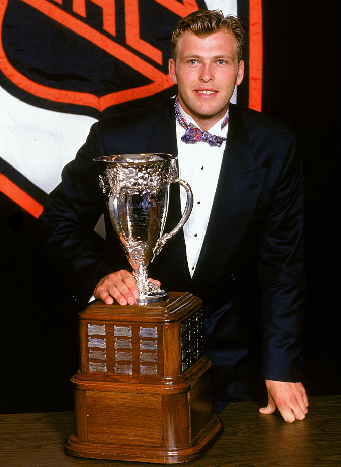 After a full season in the AHL, Brodeur was added to the Devils' opening night roster for the 1993-94 season and went on to win the Calder Trophy as Rookie of the Year with a 27-11-8 record, 2.40 GAA and three shutouts, the first of his career coming on Oct. 20, 1993 vs. Anaheim.