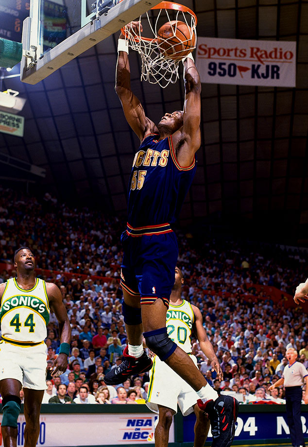 Though they barely finished over .500 (42-40), the Nuggets, fueled by Dikembe Mutombo, defeated top-seeded Seattle in overtime of Game 5 to win the series. It was the first time in history that an eighth seed defeated a No. 1. Seattle, led by Gary Payton and Shawn Kemp, was plagued by Mutombo, whose 31 blocks set a record for a five-game series.