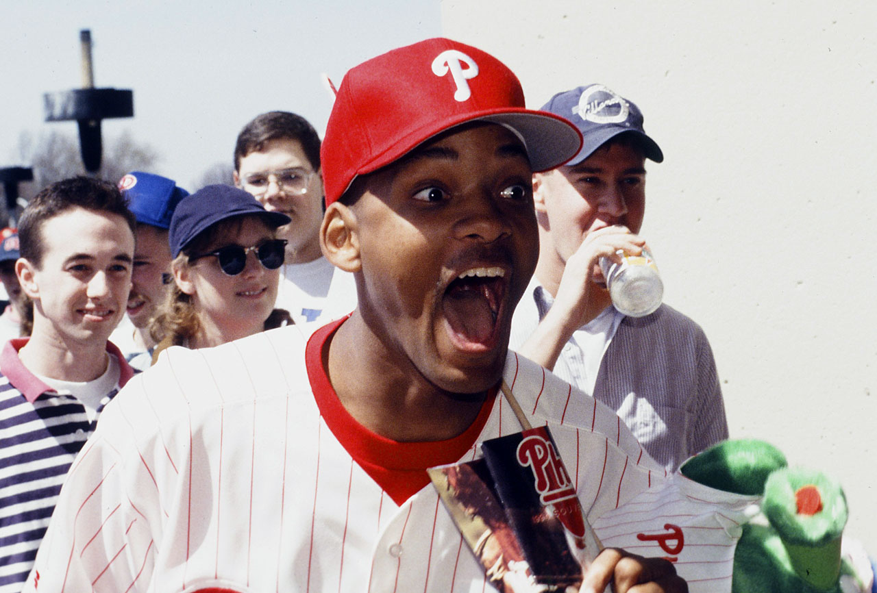 Will Smith dons some Phillies gear while filming the Fresh Prince of Bel-Air episode ''The Philadelphia Story.''