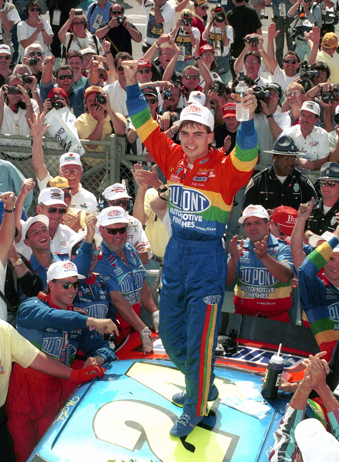 Jeff Gordon celebrates in Victory Lane after winning the Brickyard 400 race at the Indianapolis Motor Speedway.