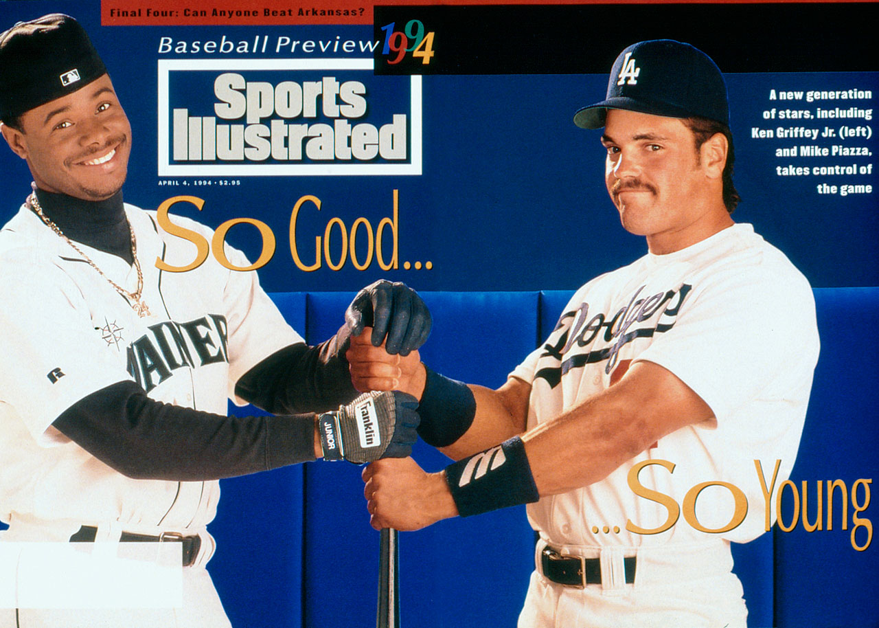 Ken Griffey Jr. appears on the April 4, 1994 Baseball Preview issue of Sports Illustrated with Mike Piazza in the foldout.