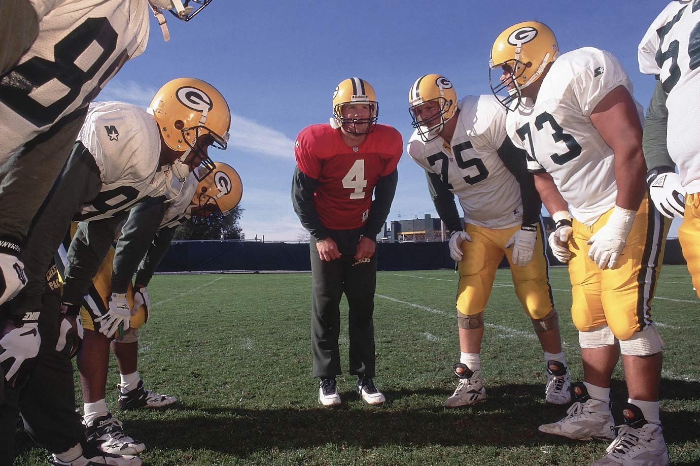At practice, new arrival Keith Jackson (88) drops in line with the other tight ends in passing drills. Holmgren wanted Favre to help smooth over any anti-Jackson sentiment on the team, since he had been traded to the Packers by the Miami Dolphins in March but refused to report, citing Green Bay's brutal winters.