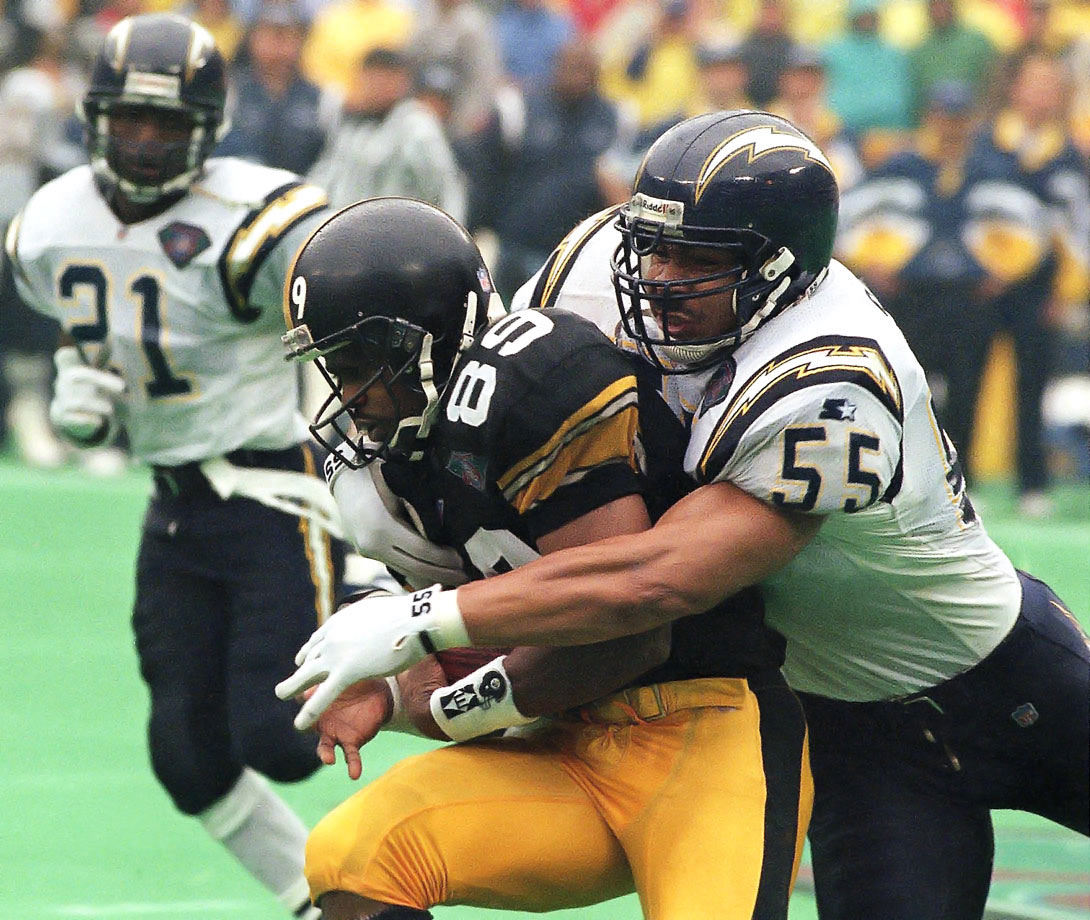 The Chargers scored 14 unanswered points in the second half to upset the heavily favored Steelers. In one of the greatest games in his career, Junior Seau recorded 16 tackles while playing with a pinched nerve in his neck.