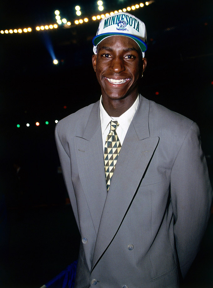 Kevin Garnett was drafted by the Minnesota Timberwolves with the fifth pick of the 1995 NBA Draft. KG was joined in the Top 5 by Joe Smith, Antonio McDyess, Jerry Stackhouse and Rasheed Wallace.