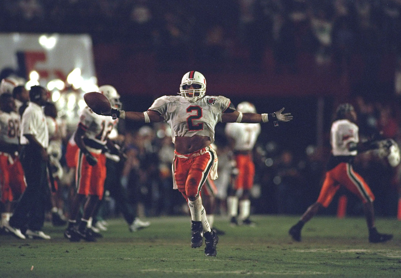 Rohan Marley celebrates a play during Miami's national championship game against Nebraska at the Orange Bowl on Jan. 1, 1995.  The No. 1 ranked Cornhuskers defeated the No. 3 Hurricanes, however, 24-17.