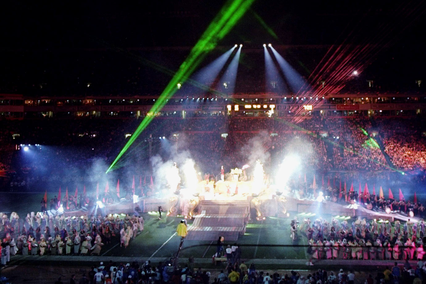 "An example of product placement gone wrong, Disney used this halftime show to build buzz for its Indiana Jones Adventure attraction that was opening later that year at Disneyland. Unable to get Harrison Ford to participate, a different Indiana Jones sought the Vince Lombardi Trophy while the show concluded with another Disney property inclusion, ""Can You Feel the Love Tonight?"" from its 1994 film ""The Lion King."""