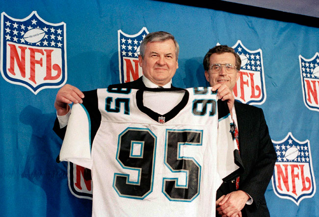 Jerry Richardson celebrating the birth of his franchise.