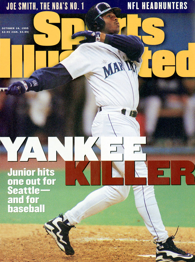 Ken Griffey Jr. appears on the Oct. 16, 1995 cover of Sports Illustrated, following the Mariners ALDS victory over the Yankees.