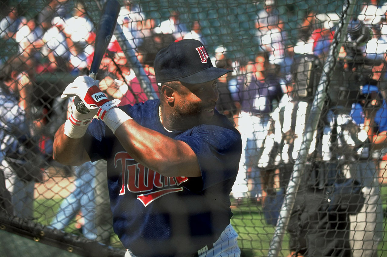 Kirby Puckett takes batting practice before the All Star Game in Arlington, Texas.