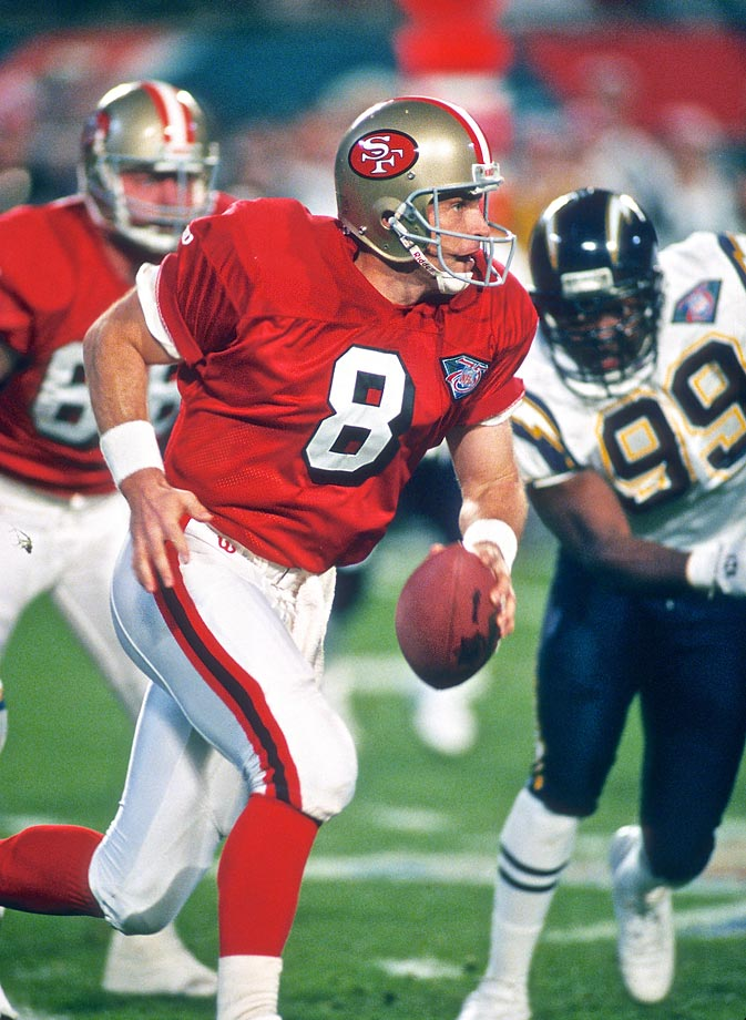 Steve Young threw a Super Bowl-record six touchdown passes against the Chargers.