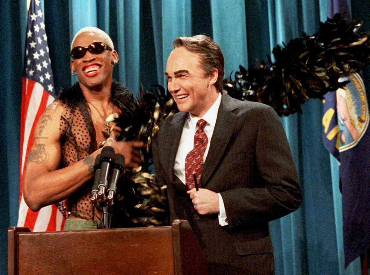 "In 1996, Rodman made a cameo appearance on ""Saturday Night Live"" alongside Norm McDonald (dressed as Sen. Bob Dole). In another skit that night, Rodman sat behind the show's ""Weekend Update"" desk ... naked."