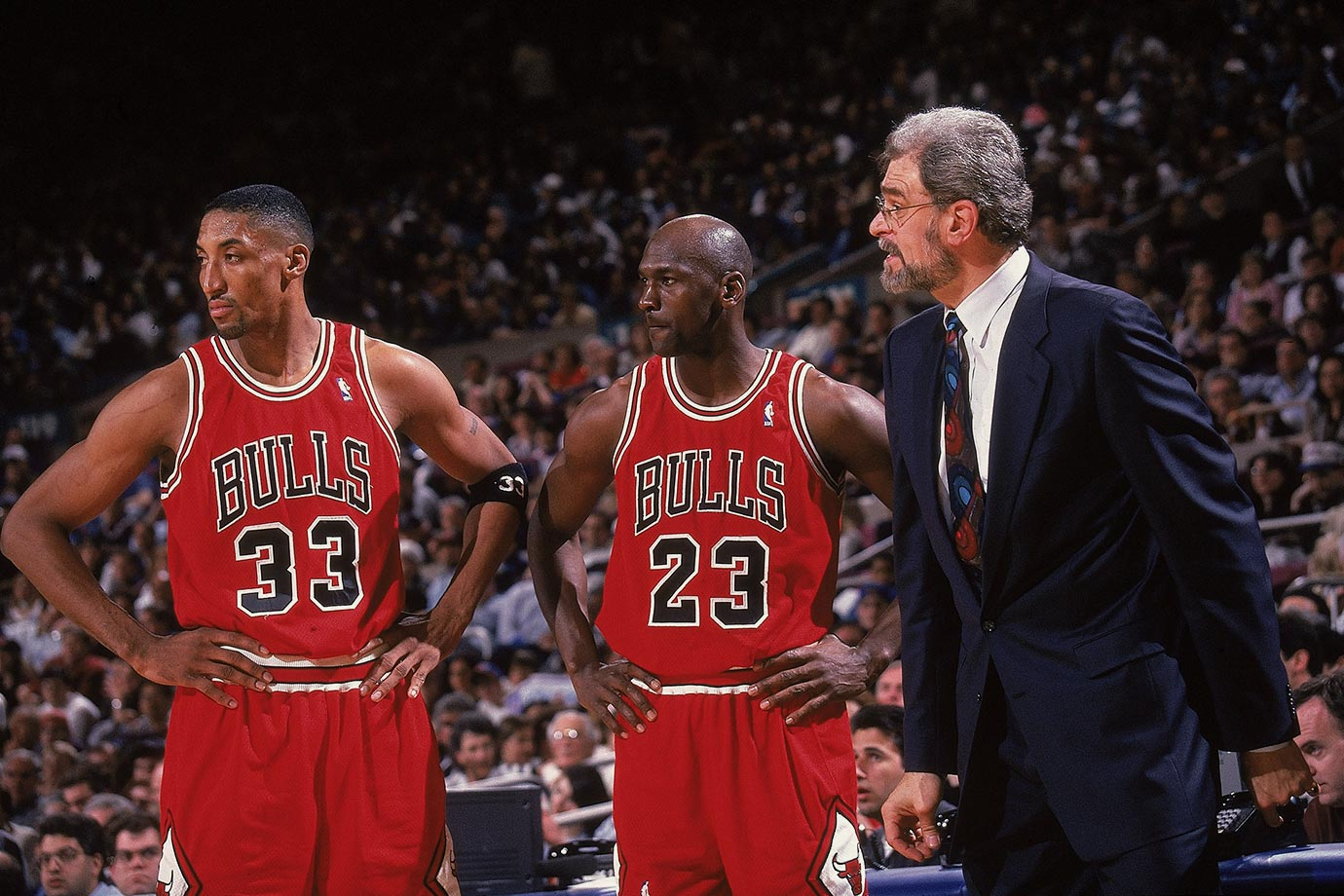 quality design f6bda e3ba3 Phil Jackson talks to Scottie Pippen and Michael Jordan during Game 4 of  the Eastern Conference