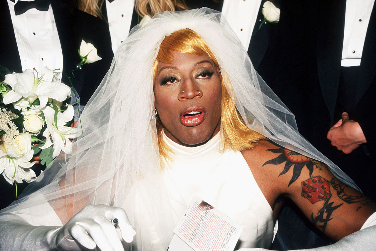 "Rodman dressed up as a bride to promote his book, ""Bad As I Wanna Be,"" in New York City in 1996."