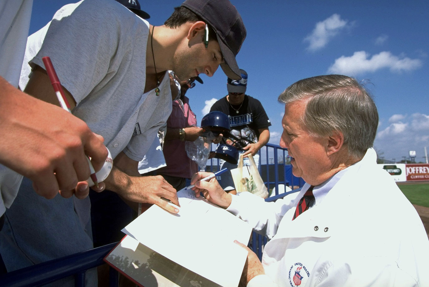 George Steinbrenner signs autographs for fans during the New York Yankees spring training on Feb. 23, 1996 at Legends Field in Tampa, Fla.