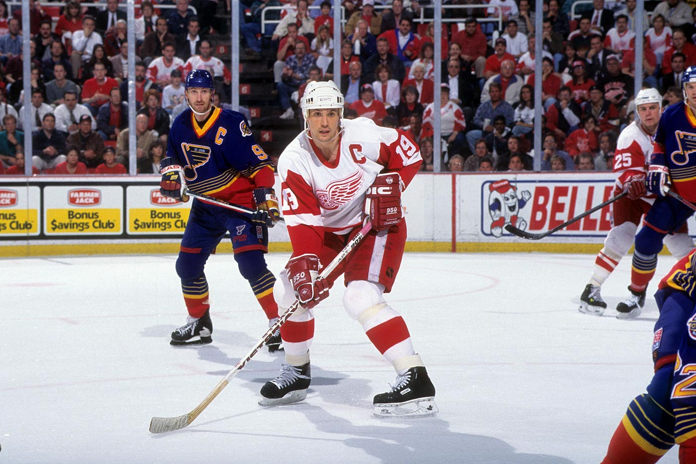"Red Wings captain Steve Yzerman ended an epic goaltending duel by grabbing a puck off Wayne Gretzky's stick, taking off and beating Jon Casey with a slap shot from the blue line at 1:15 of double overtime. ""I couldn't believe it went in,"" Yzerman said after the game. ""I don't score a whole lot of goals from out there. To score a goal in overtime, particularly in Game 7, is a tremendous thrill. Every player dreams of that."""