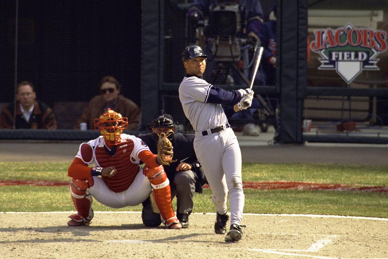 Handed the Yankees' shortstop job to start the 1996 season, Jeter silenced front-office doubts about his readiness on Opening Day in Cleveland. In his second at-bat of the season, he led off the top of the fifth by pulling a solo home run over Jacobs Field's leftfield wall. Jeter also impressed in the field as the Yankees won, 7-1. He then went 3-for-3 with a walk and a stolen base the next day. By season's end, he was the unanimous choice for AL Rookie of the Year.