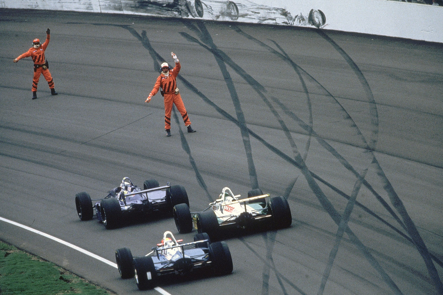 Boycotted by many drivers, the first postsplit 500 retained some golden rules-slow down to avoid debris and don't follow the rubber to the wall.