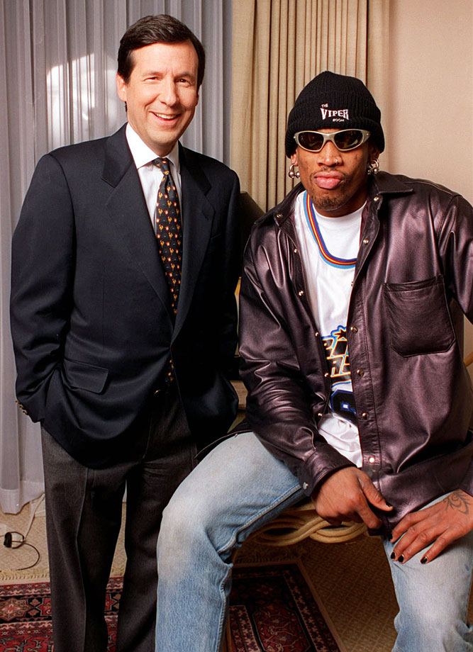 "Rodman and ABC News ""PrimeTime Live"" chief correspondent, Chris Wallace, pose for a photo during Rodman's first interview since his suspension for kicking a television cameraman in the groin. President Clinton says Rodman should acknowledge that it was wrong to kick a cameraman."