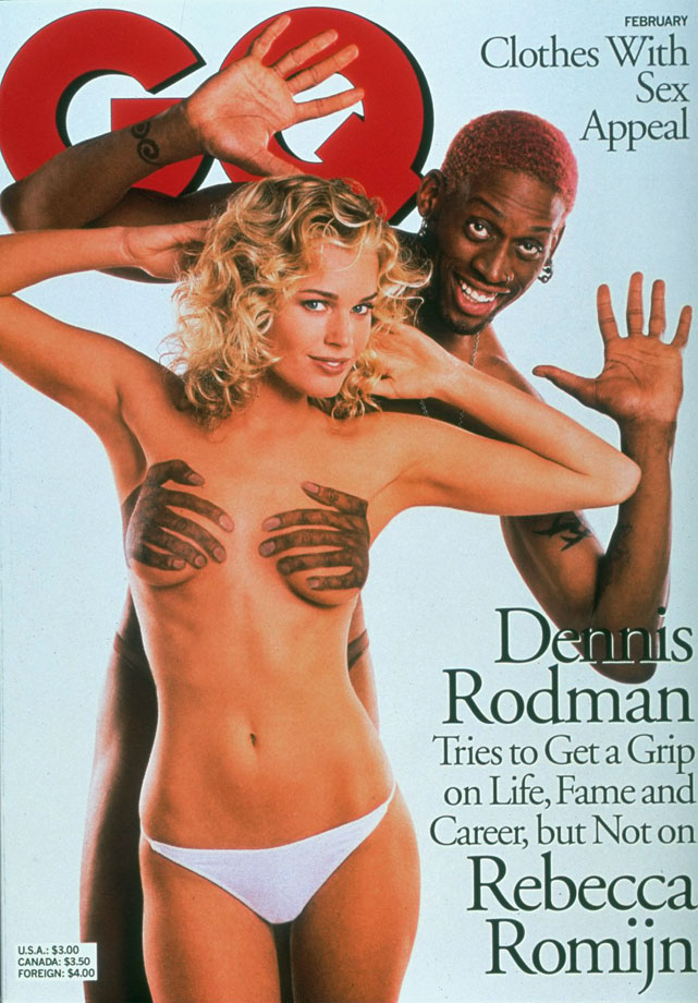 "Rodman and Rebecca Romijn create a classy ""GQ"" cover."