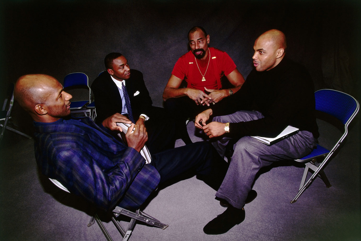 Charles Barkley reminisces with NBA legends Clyde Drexler, Isiah Thomas and Wilt Chamberlain during NBA All-Star Weekend. Barkley spent two seasons on the Houston Rockets with Drexler and played on the Eastern Conference All-Star Team with Thomas for six years.