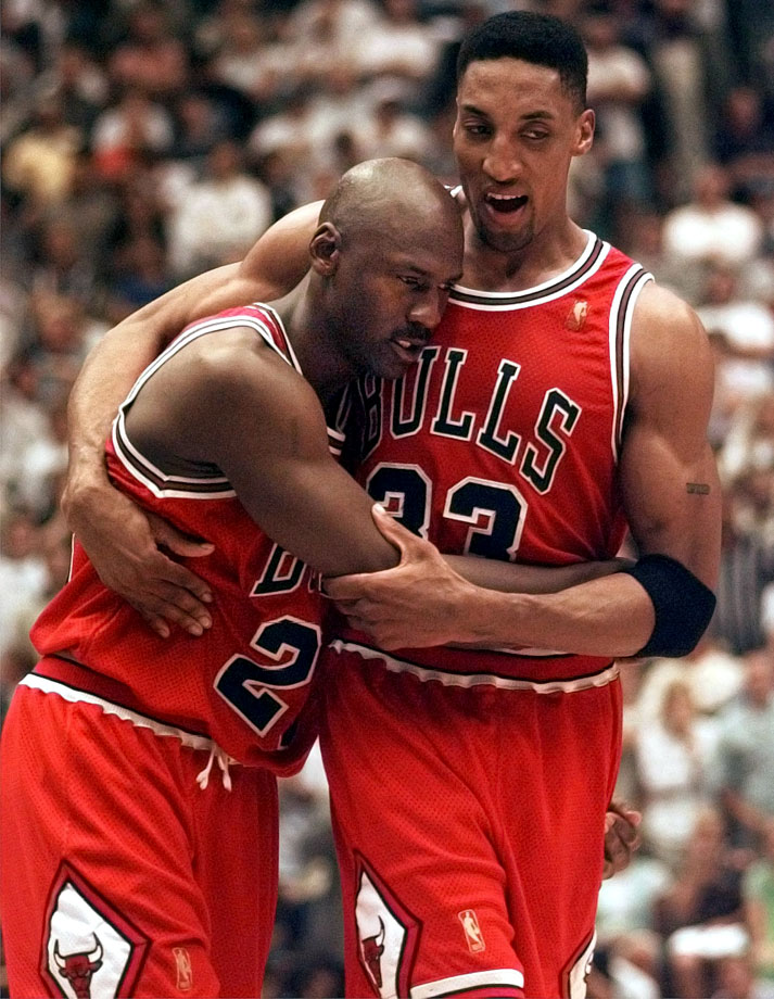 Michael Jordan fought off an energy-zapping flu bug to get 38 points, seven boards and five assists -- including the game-winning shot with 25 seconds left. Chicago went on to win its fifth championship in seven seasons.