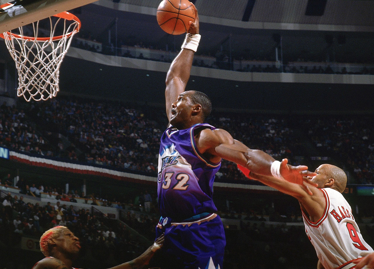 Karl Malone's ability to run the court allowed him to convert fastbreak dunks and lay-ups off assists by Stockton.