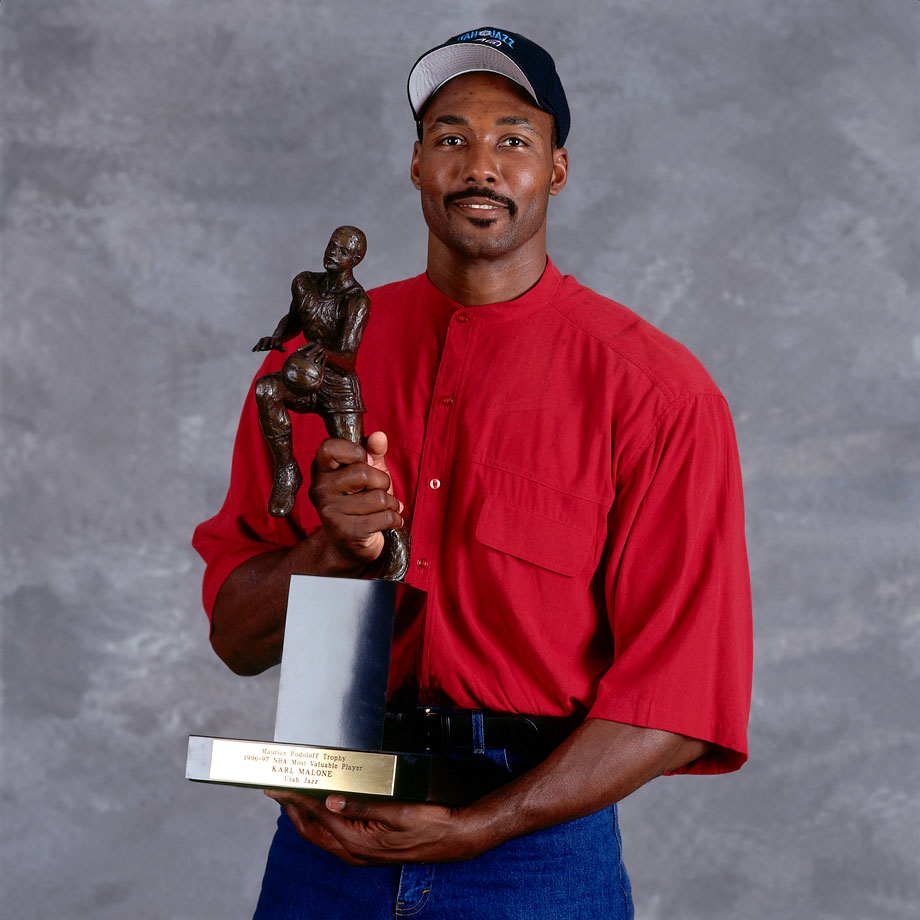 After averaging 27 points, 10 rebound and 4.5 assists per game, Karl Malone was named the 1996-97 MVP.