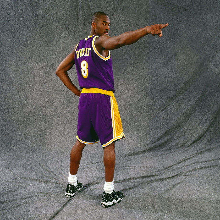 Here's Kobe, striking a pose during his rookie photo shoot. Charming.