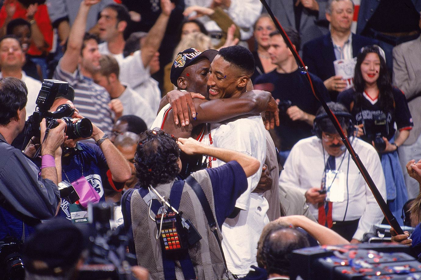 Michael Jordan hugs Scottie Pippen after the duo won their fifth NBA title together in 1997. Jordan earned his fifth Finals MVP Award in as many appearances.