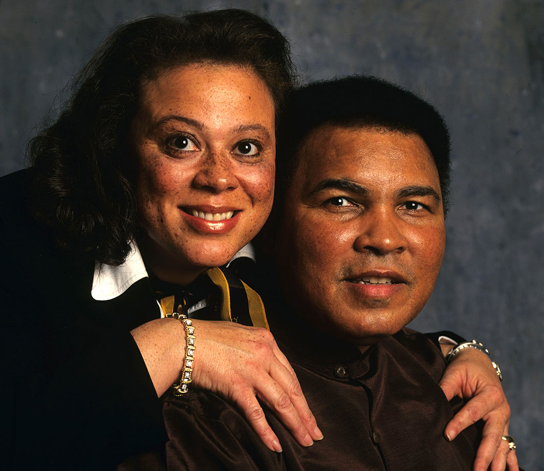 Husband and wife pose for a portrait during a photo shoot in 1997. Muhammad and Lonnie married in 1986 and have an adopted son together, Asaad Amin Ali.