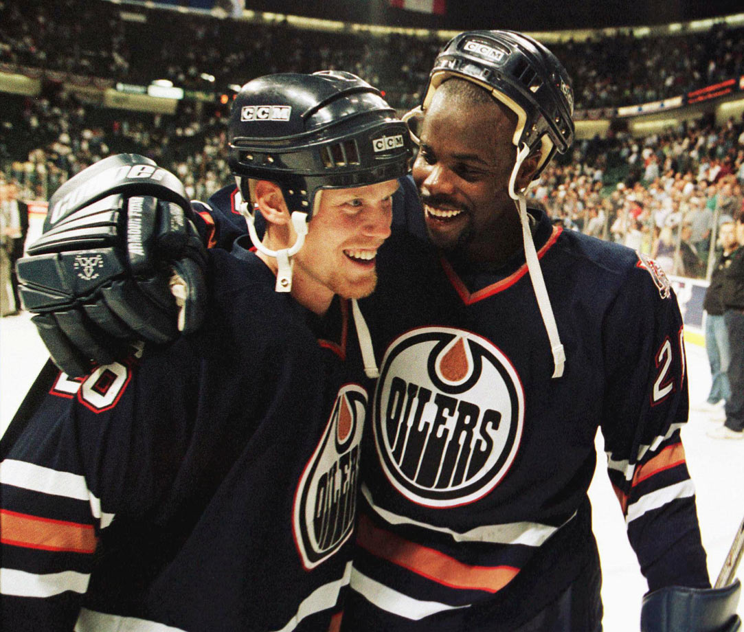 "The Oilers pulled off a huge upset when, after a dazzling save by goalie Curtis Joseph, Doug Weight found winger Todd Marchant with a pass. Stars defenseman Grant Ledyard fell and Marchant went on on a breakaway, beating Andy Moog with a high shot at 12:26 of the third extra session. ""It was one of those games where you knew something weird was going to happen. Toddy scoring would likely be it,"" Oilers coach Ron Low told the Edmonton Journal. ""He'd only had about 500 breakaways that year and scored on one percent of them."""