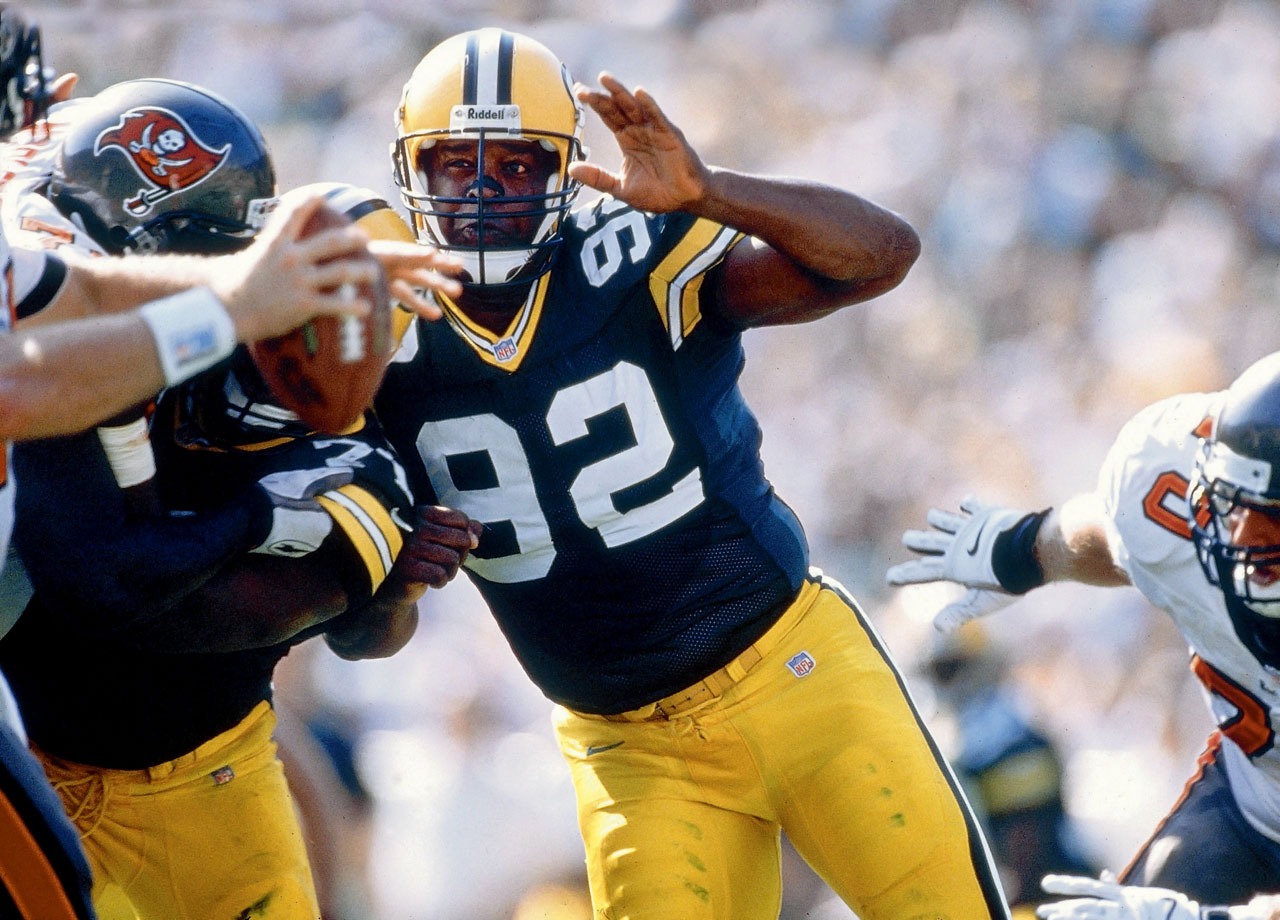 Green Bay Packers DE Reggie White plays against the Tampa Bay Buccaneers at Lambeau Field on Oct. 5, 1997 in Green Bay, Wis.