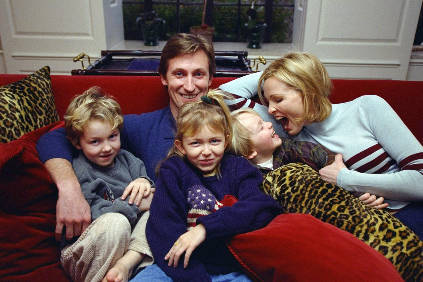 Wayne Gretzky sits with his family, wife Janet and their kids Trevor, Paulina and Ty in 1997.