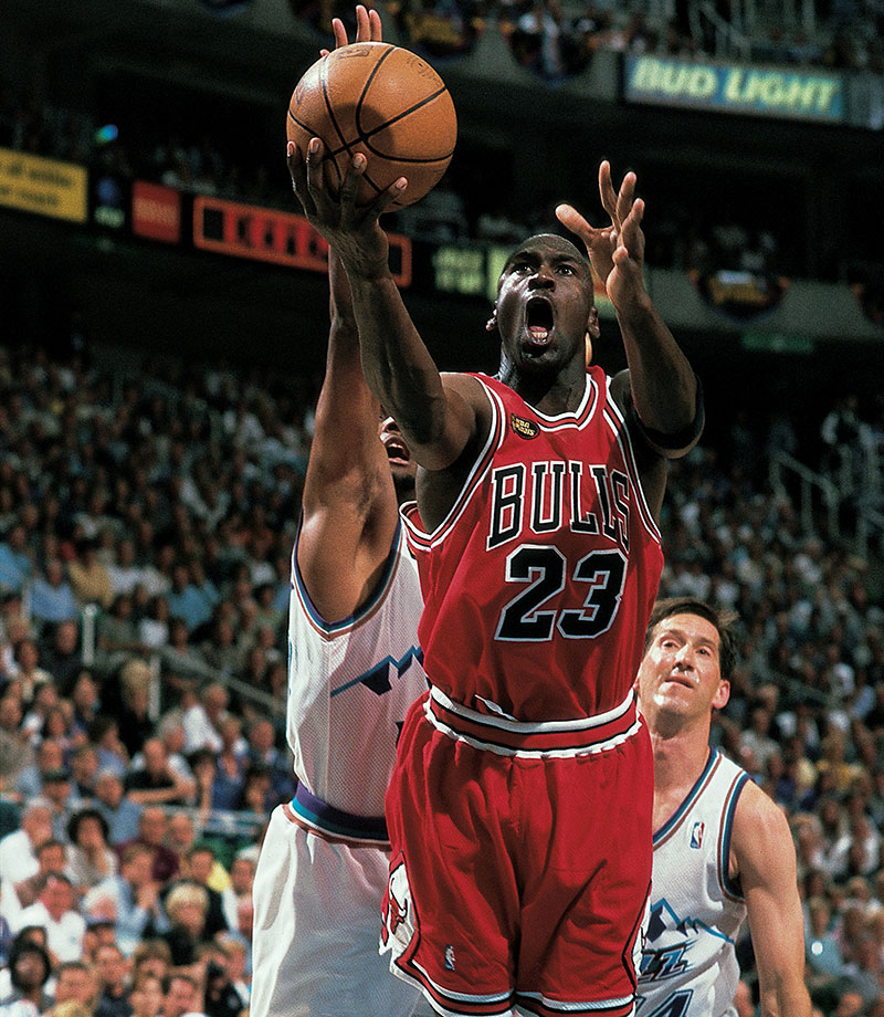 Michael Jordan drives to the hoop against Utah in Game 1 on the 1998 NBA Finals. The Bulls dropped the first game of the series despite 33 points from Jordan, but rallied to win the series in six games.