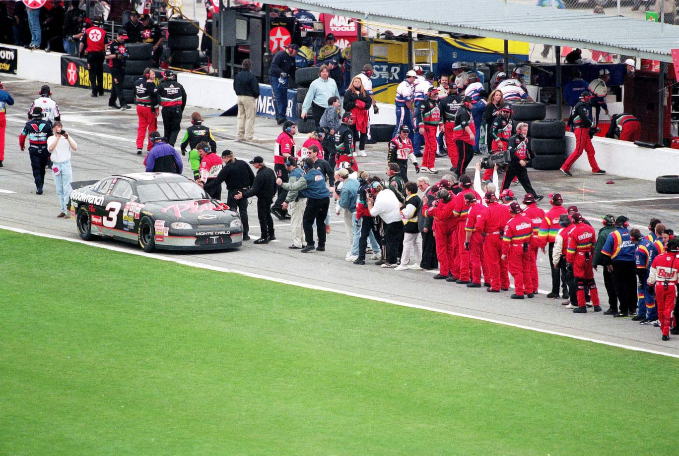 Dale Earnhardt endured two decades of frustrations and tribulations in the Daytona 500, despite dominating nearly every other form of racing at the speedway. When the veteran finally claimed his only Daytona 500 win in 1998, colleagues and competitors lined pit road to congratulate him in a long reception line up pit road.