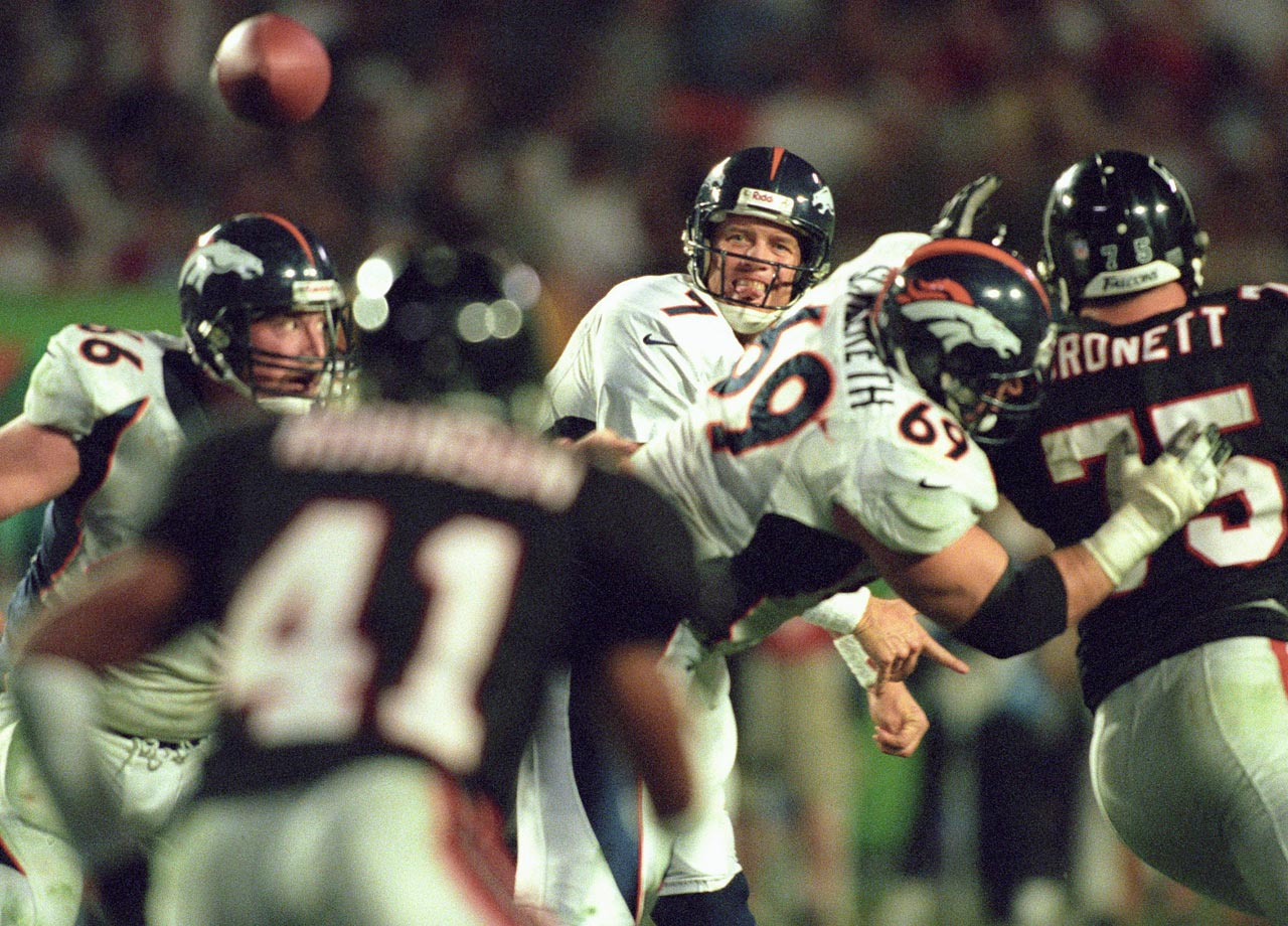 The 1998 NFL season was not Elway's best. Injuries limited the 38-year-old quarterback to 12 starts and he did not rank in the top three of any NFL passing categories. Elway still threw for nearly 3,000 yards and tossed 22 TD passes. But the future Hall of Famer went out spectacularly in Super Bowl XXXIII, passing for 336 yards, including an 80-yard TD toss to Rod Smith, and scoring Denver's final touchdown on a 4-yard quarterback draw in a 34-19 defeat of the Atlanta Falcons, the Broncos' second straight championship. Elway was selected the game's MVP.