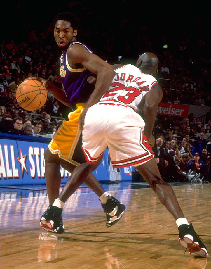 34aa1afe8595 Kobe tries to get around Michael Jordan during the 1998 All-Star Game at  Madison