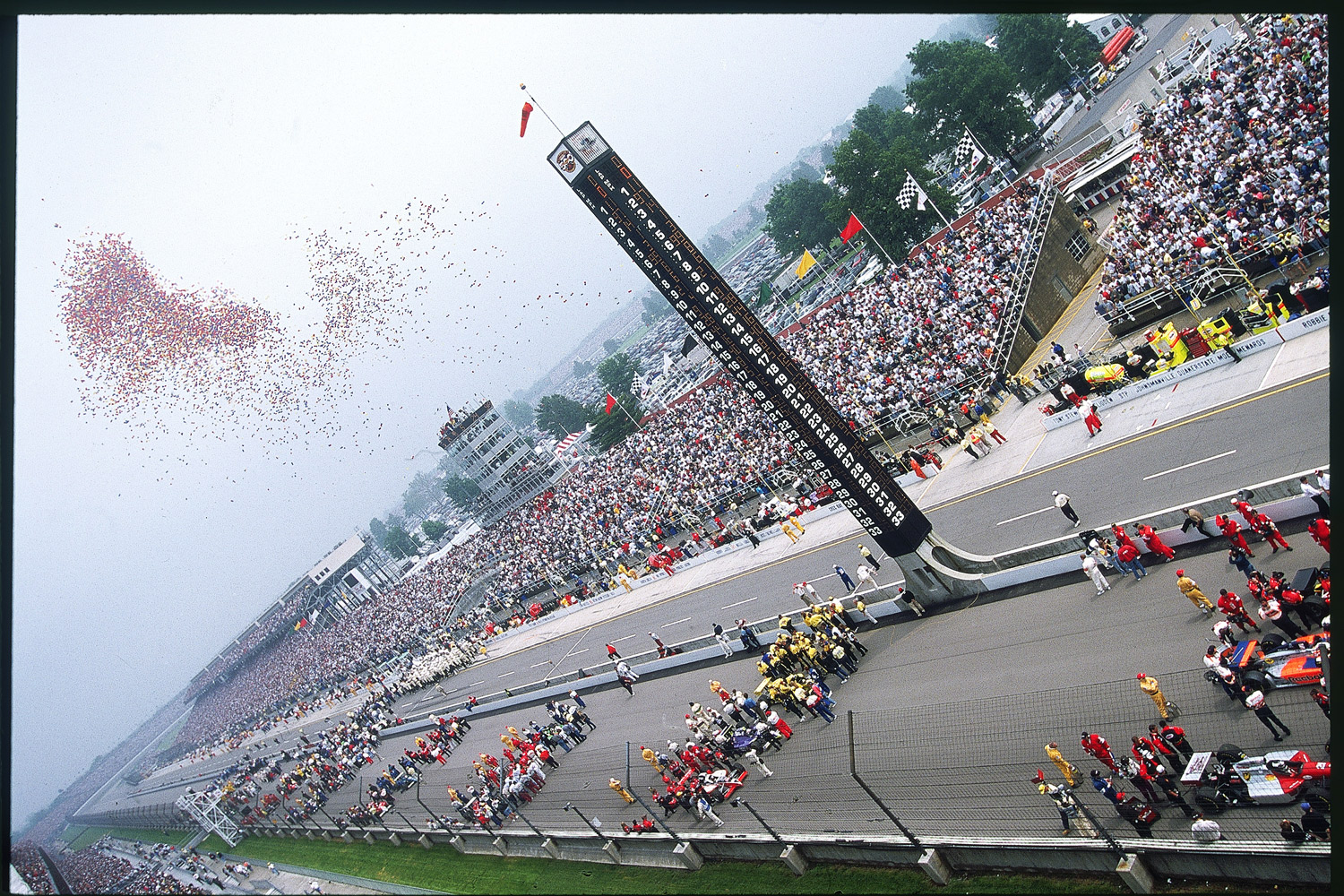 The annual tradition of getting the 500 underway by releasing some 30,000 helium-filled balloons (just as the last note of Back Home Again in Indiana is sung) presaged a paradoxical race. It was once full of no-names (many top drivers were in CART) and incomparably rich. The biggest chunk of the record $8.7 million purse went to winner Eddie Cheever Jr., who came from the 17th position for his only 500 victory.