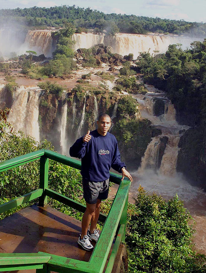 Ronaldo gives the thumbs-up on a tour of the falls at Foz do Iguacu National Park, Brazil, in June 1999. The Brazilian national soccer team was training nearby in preparation for the Copa America tournament.