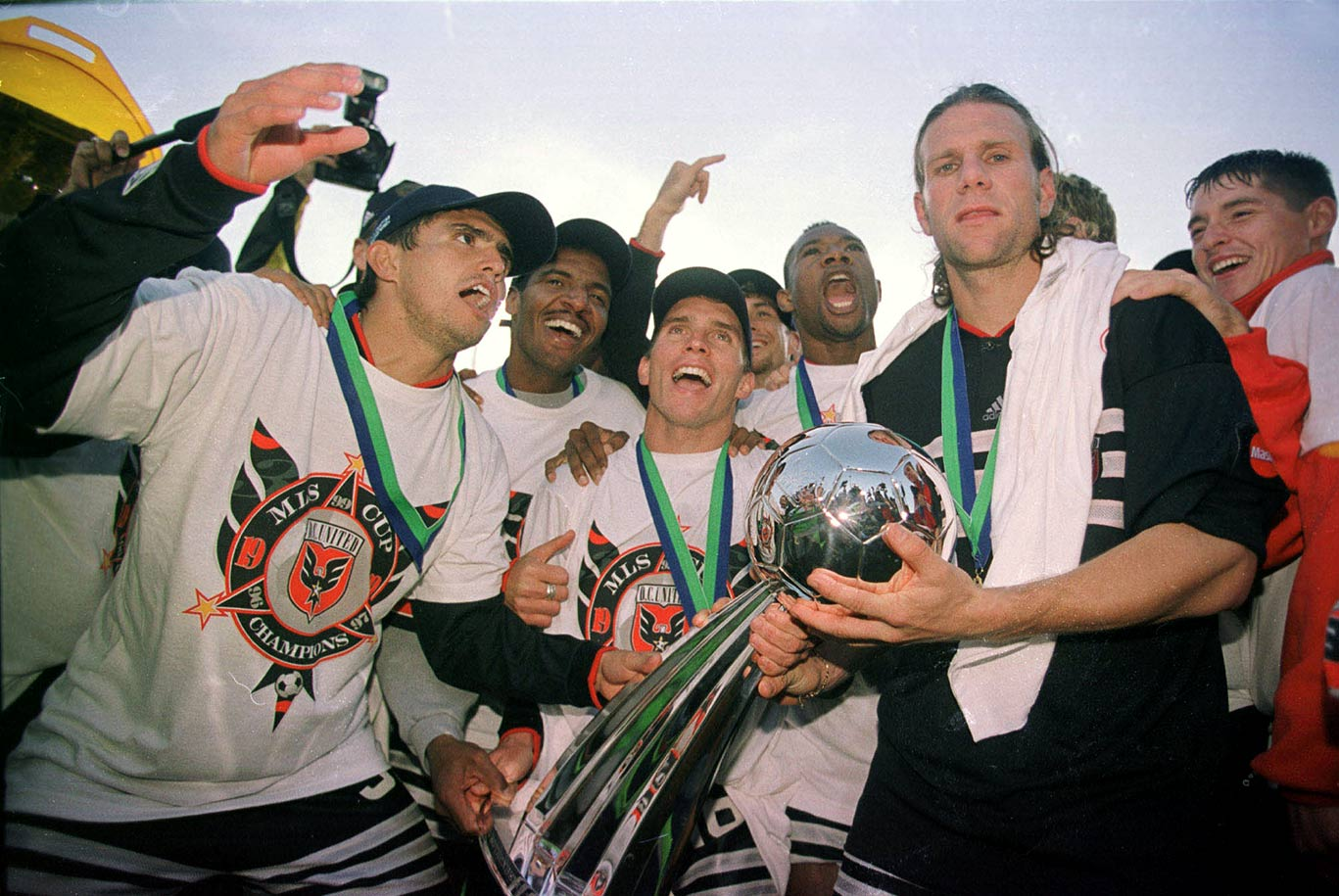 <p>1999 — D.C. United (beat LA Galaxy 2-0)</p>