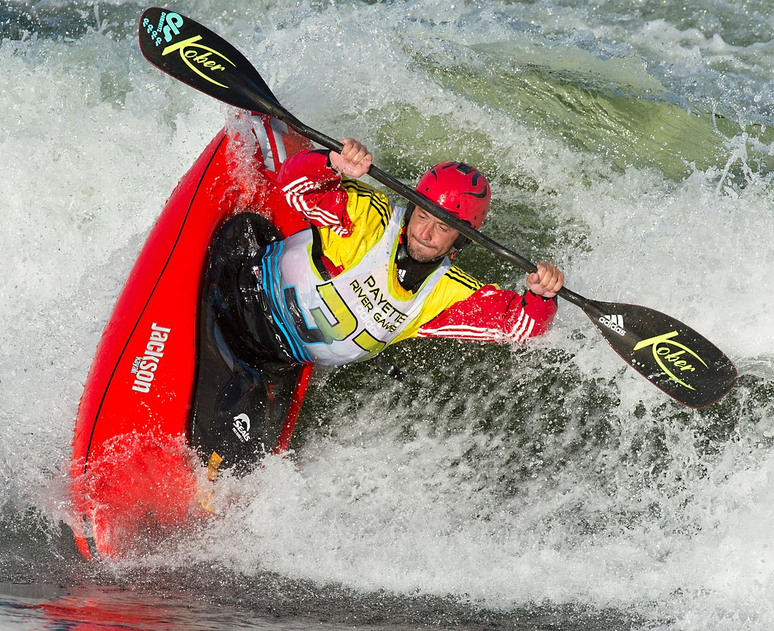 "Mathieu Dumoulin throws a trick known as the ""blunt"" during the 2014 Payette River Games in Cascade, Idaho."