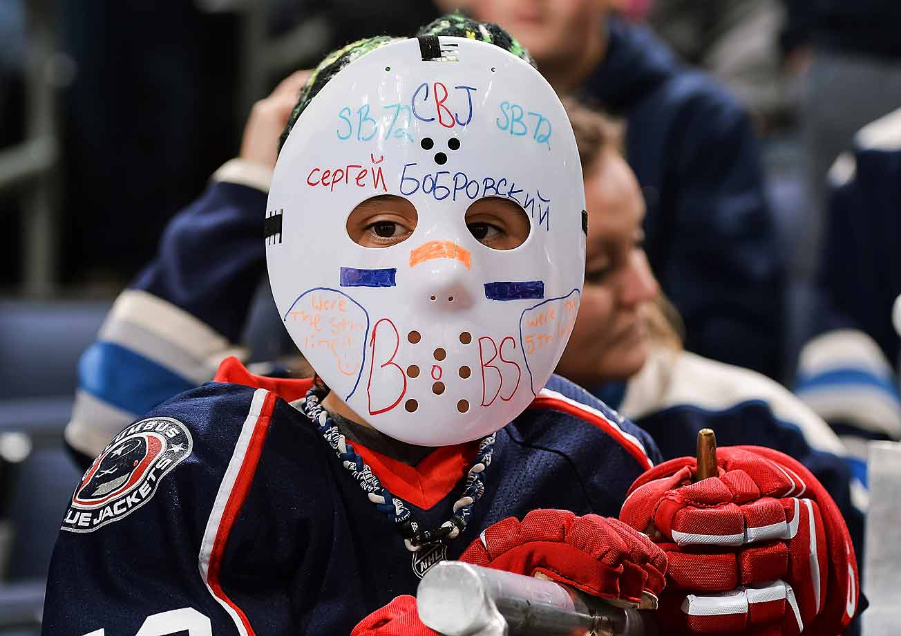 There's no masking this young fan's feelings for Sergei Bobrovsky before a Halloween game against the Maple Leafs at Nationwide Arena in Columbus.
