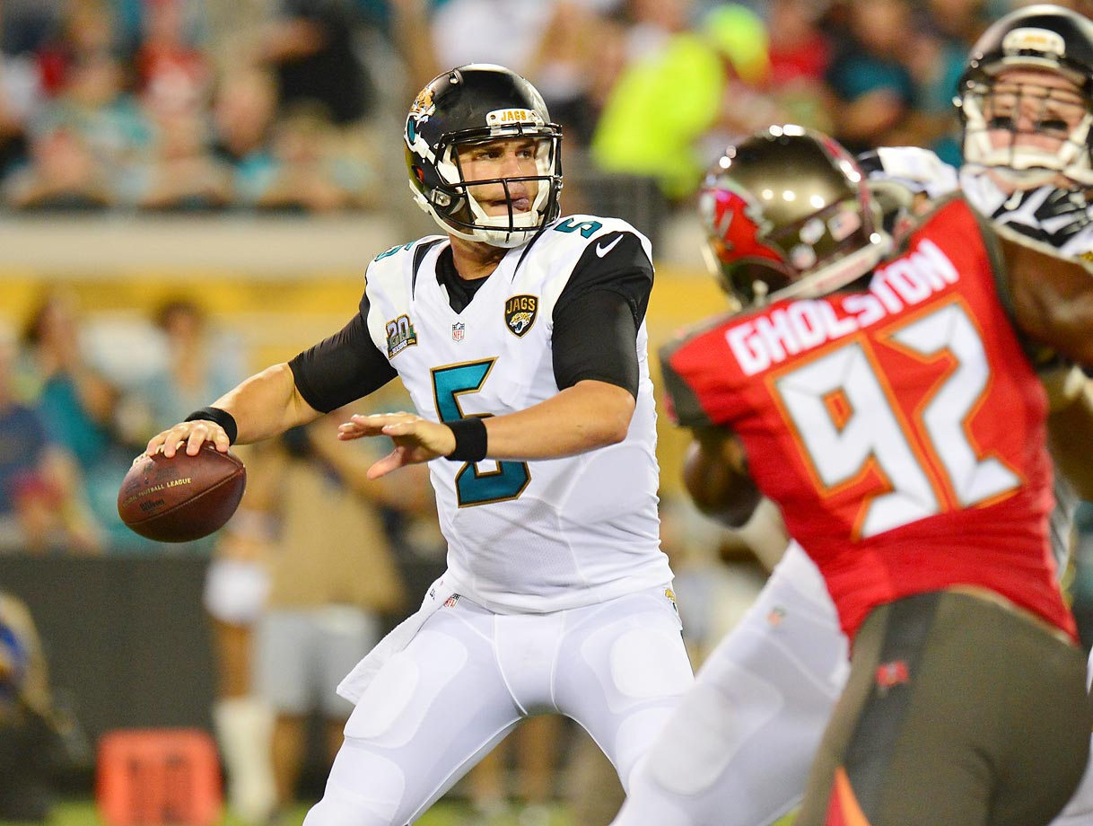 Blake Bortles, Jacksonville Jaguars – Bortles might not start for the Jags anytime soon, but keep an eye on the situation. Once Bortles gets his chance, he's the type of strong-arm QB who could rack up garbage-time passing yards.
